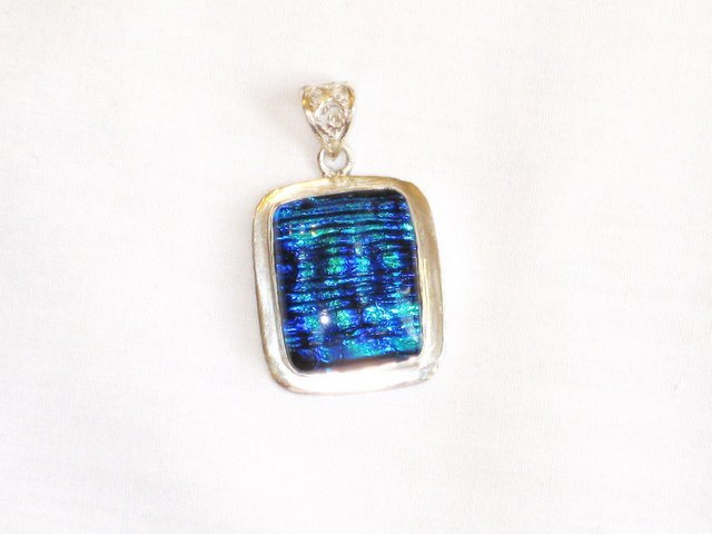 PN015  Deep Ocean Colored Dichroic Glass Silver Pendant - SOLD