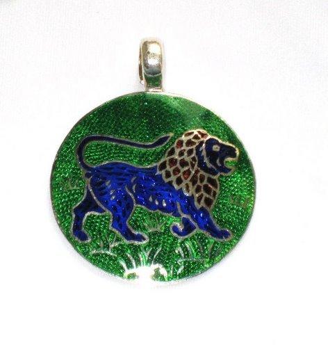 Blue Lion - Enameled Pendant in Sterling Silver
