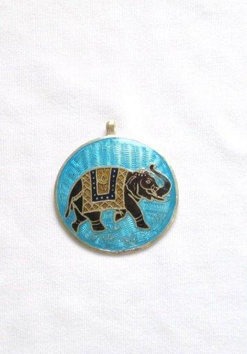 Elephant - Enameled Pendant in Sterling Silver