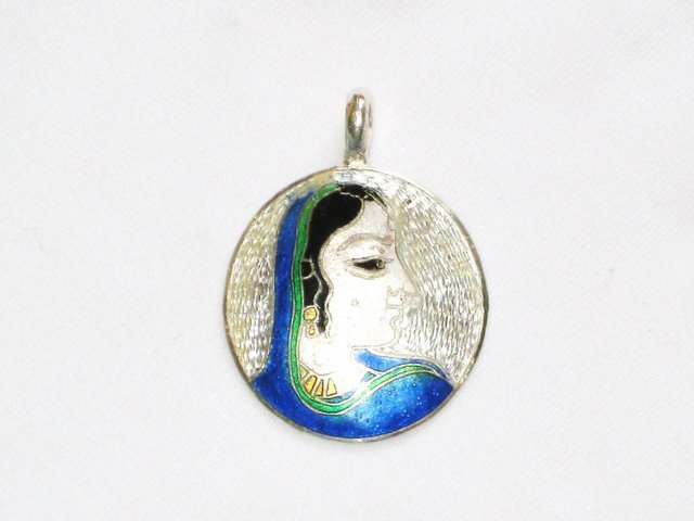 Enameled Pendant in Sterling Silver