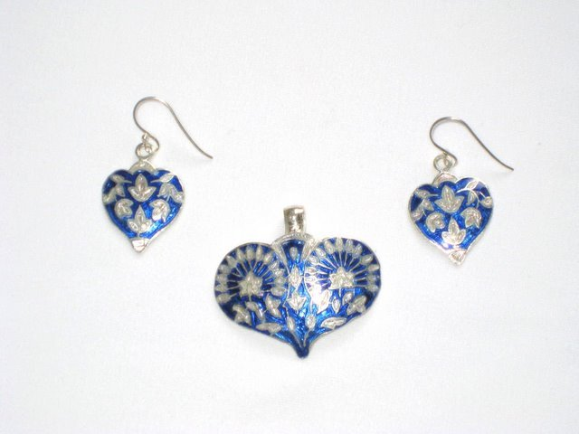 Enameled Pendant and Earrings Set in Sterling Silver