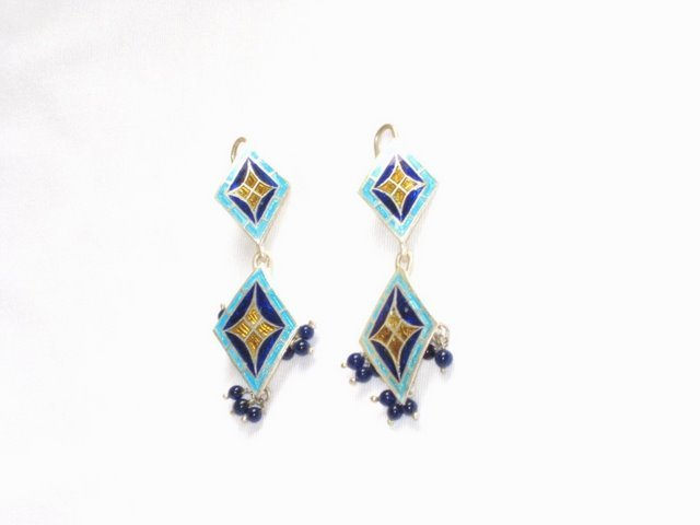 MN192 Enameled Earrings in Sterling Silver