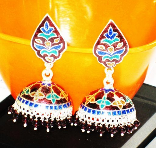 MN203    Enameled Earrings in Sterling Silver