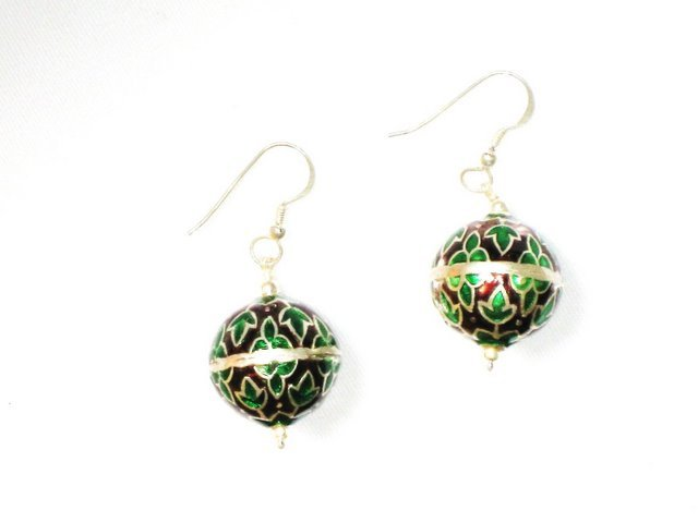 MN207       Enameled Earrings in Sterling Silver