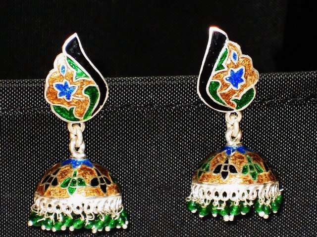 SOLD - MN227       Enameled Meenakari Umbrella Chandeliers in Sterling Silver