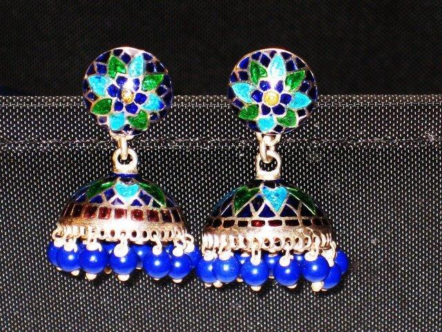 SOLD - MN241    Enameled Meenakari Umbrella Chandeliers in Sterling Silver