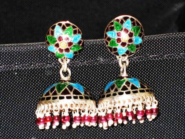 MN242   Enameled Meenakari Umbrella Chandeliers in Sterling Silver