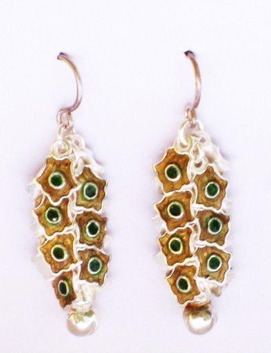 MN245       Enameled Earrings  in Sterling Silver