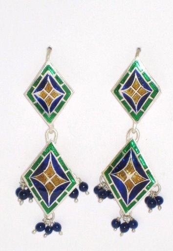 MN250      Enameled Earrings in Sterling Silver
