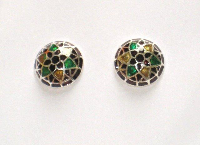 MN255       Enameled Earrings in Sterling Silver