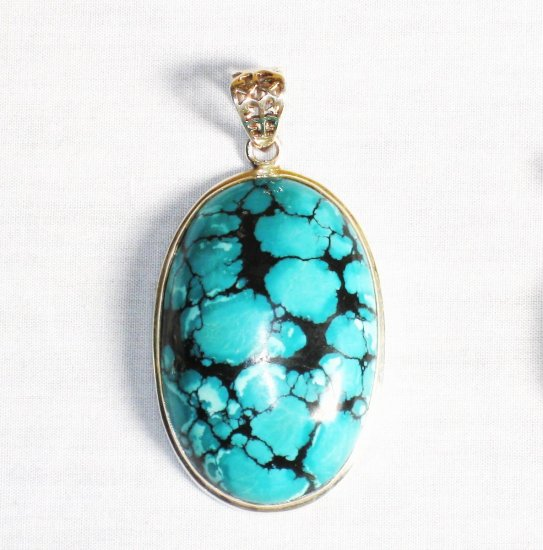 PN267  Turquoise Pendant in Sterling silver