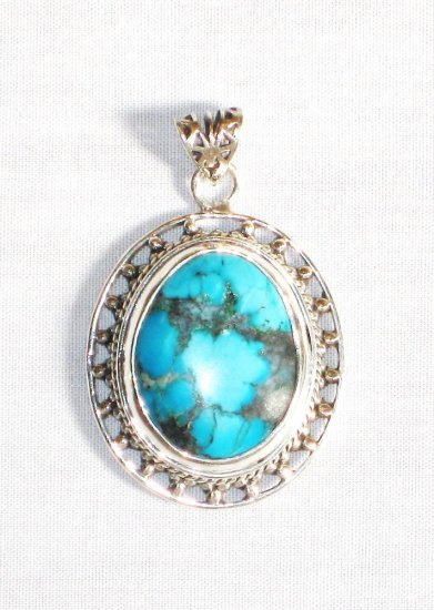 PN284  Turquoise Pendant in Sterling silver