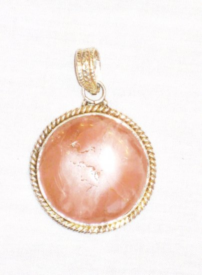 PN495 Rose Quartz Pendant in Sterling Silver
