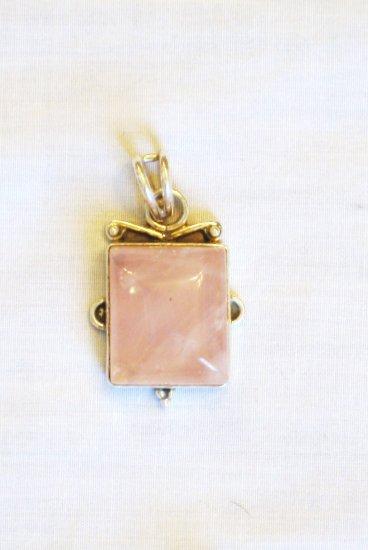 PN501 Rose Quartz Pendant in Sterling Silver