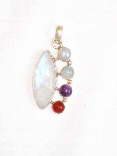 PN073 Moonstone Pendant in Sterling Silver