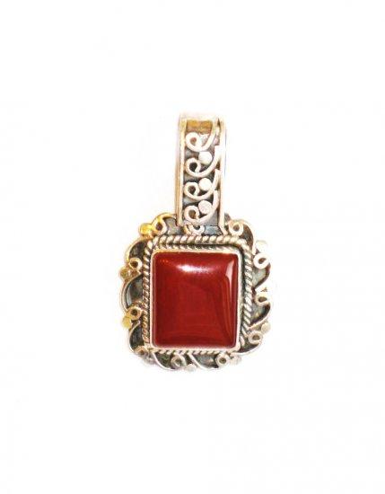 PN076 Red Jasper Pendant in Sterling Silver