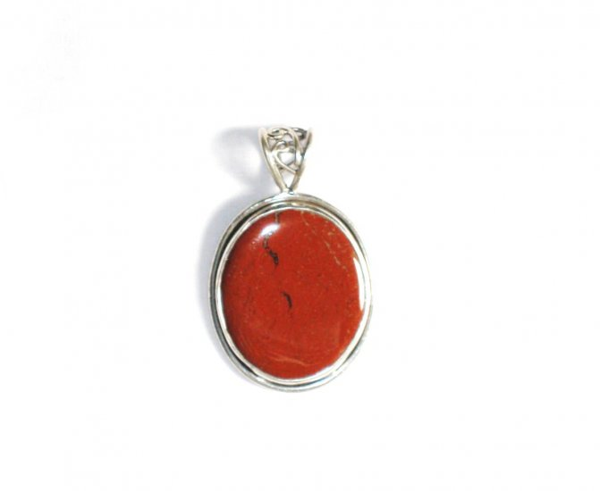 PN129 Red Jasper Pendant in Sterling Silver