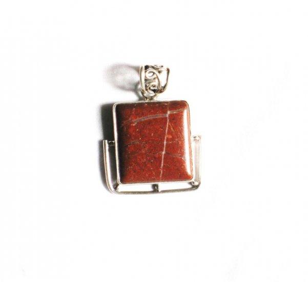 PN133 Red Jasper Pendant in Sterling Silver