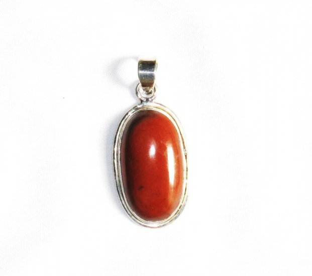 PN155 Red Jasper Pendant in Sterling Silver