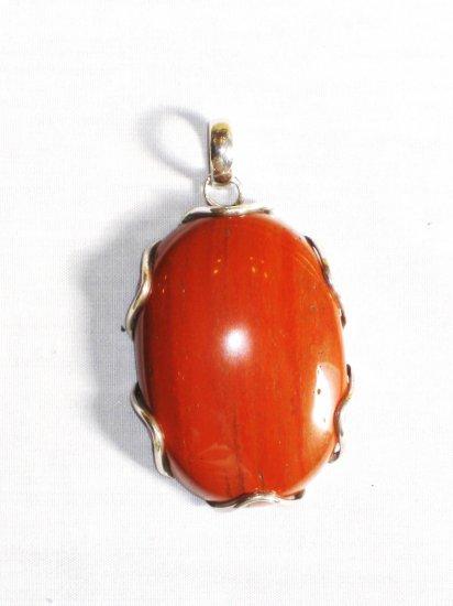 PN299 Red Jasper Pendant in Sterling Silver