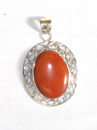 PN302 Red Jasper Pendant in Sterling Silver