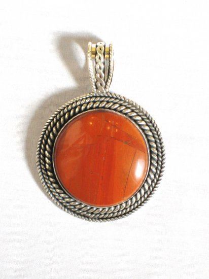 PN312 Red Jasper Pendant in Sterling Silver