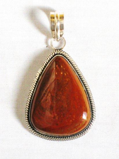 PN321 Red Jasper Pendant in Sterling Silver