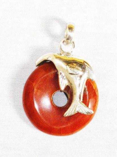 PN323 Red Jasper Pendant in Sterling Silver