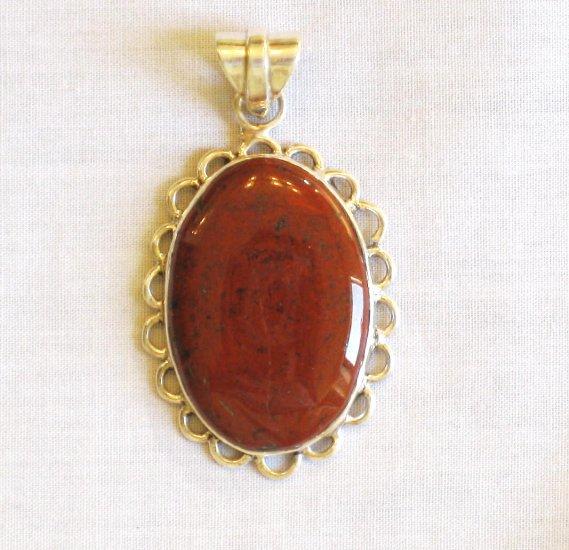 PN412 Red Jasper Pendant in Sterling Silver
