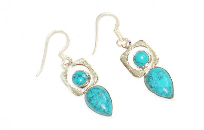 ST606 Turquoise Earrings Set in Sterling Silver