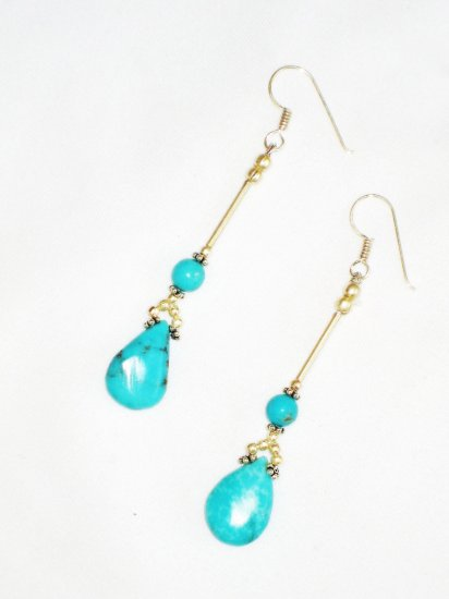ST607 Turquoise Earrings Set in Sterling Silver