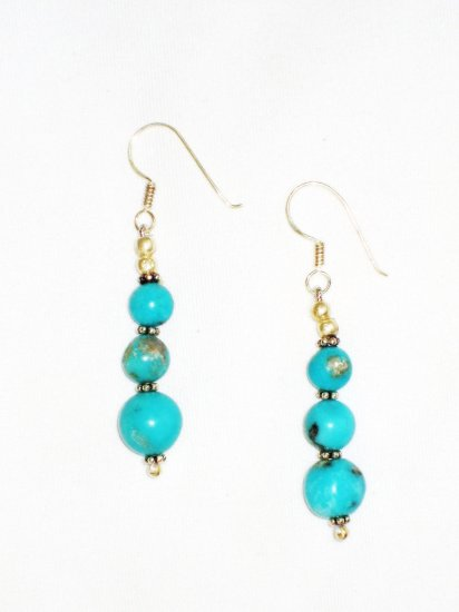 ST613 Turquoise Earrings Set in Sterling Silver