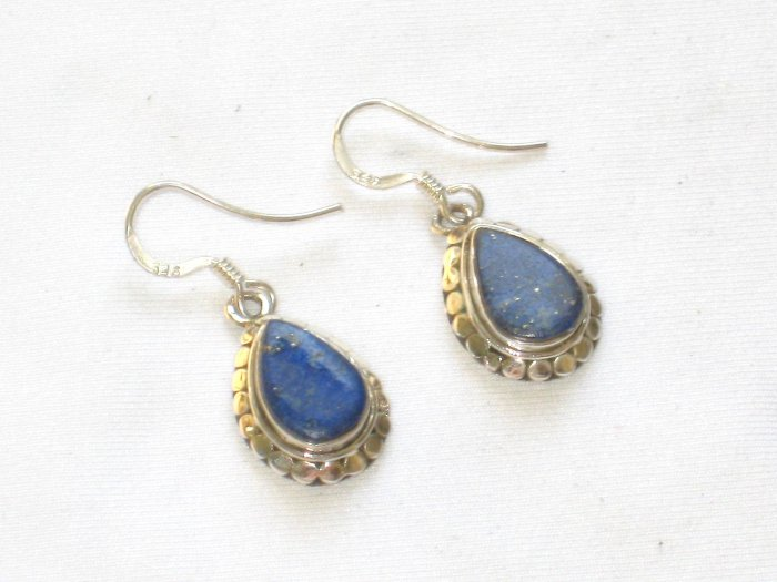ER014 Lapis Lazuli Earrings Set in Sterling Silver
