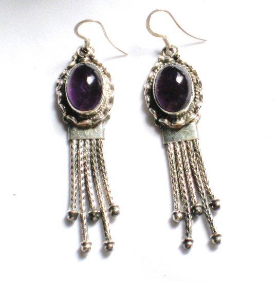 ER040 Amethyst Earrings set in sterling silver