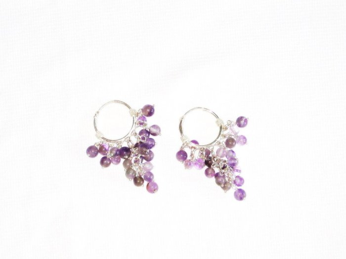 ST378 Amethyst Earrings set in sterling silver