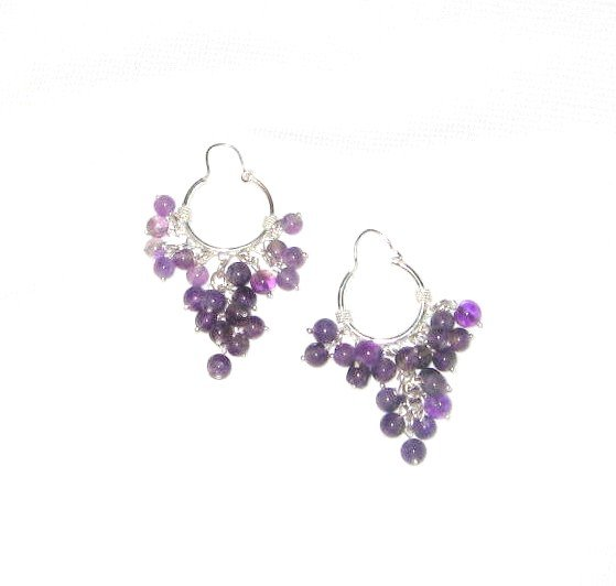 ST379 Amethyst Earrings set in sterling silver