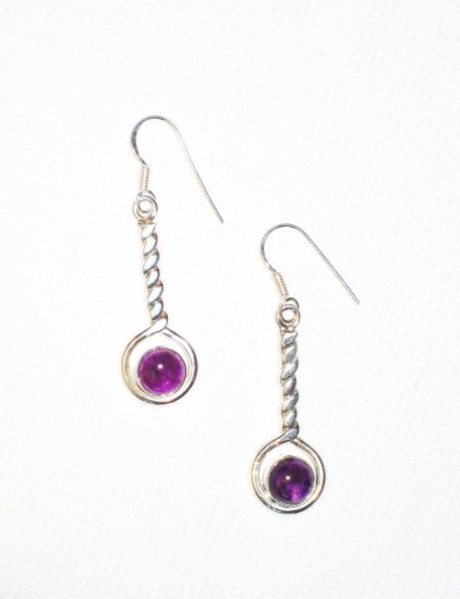 ST388 Amethyst Earrings set in sterling silver