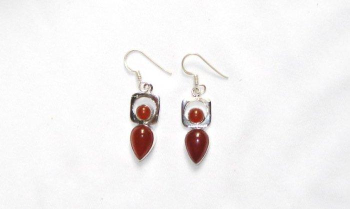 ER051 Carnelian Earrings set in sterling silver