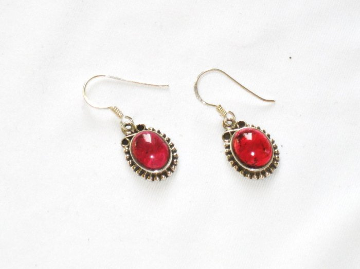 ER098 Garnet Earrings set in sterling silver