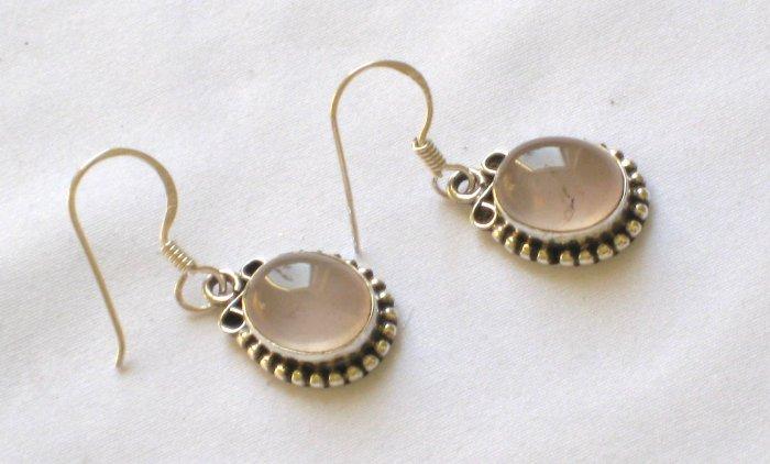 ER016 Rose Quartz Earrings set in sterling silver
