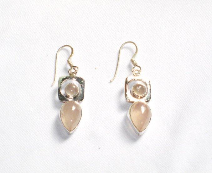 ER050 Rose Quartz Earrings set in sterling silver