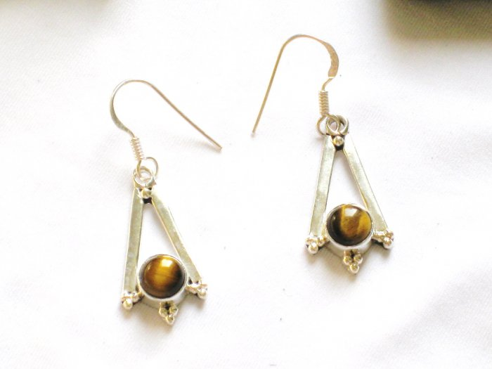 ER094 Tiger's Eye Earrings set in sterling silver