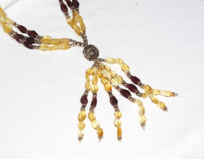 ST118 Citrine and Garnet Necklace in Sterling Silver