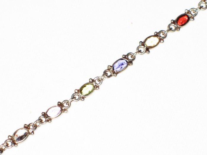 ST584 Mixed Cut Stones Bracelet in Sterling Silver