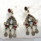 ER069 Cut Stone Moonstone and Garnet Earrings in Sterling Silver