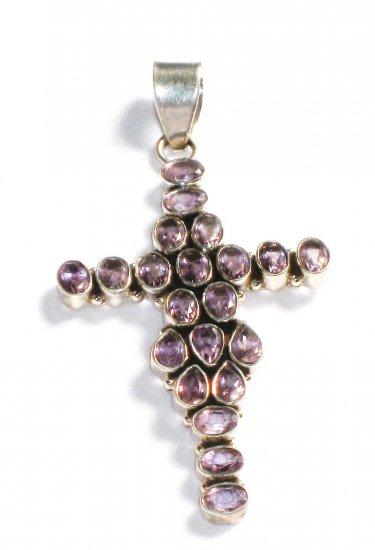 ST206       Amethyst Cross Pendant in Sterling Silver - SOLD