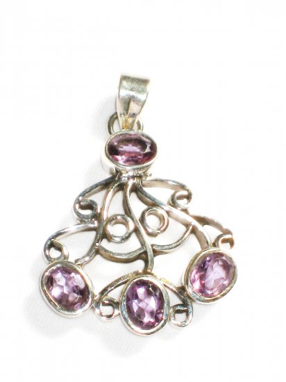 ST208       Amethyst Pendant in Sterling Silver - SOLD