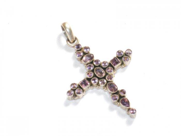 ST250     Amethyst Cross Pendant in Sterling Silver - SOLD