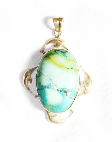 PN256  Turquoise Pendant in Sterling Silver - SOLD