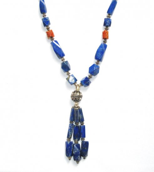 ST039       Lapis Lazuli and Coral Necklace in Sterling Silver
